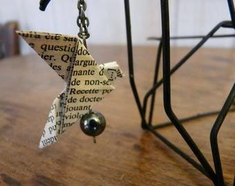 Book paper origami Dove necklace