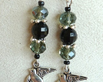 "Silver dangling earrings ""swallow"""