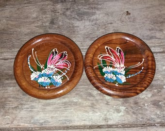 2 Vintage Wooden Hand Painted Coasters,Kitchen,Living,Decor,Butterfly,Gift,Unique,Flowers,Hand Painted