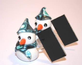 2 marks square blue snowman