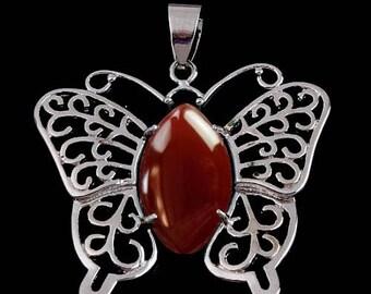 Silver plated Butterfly pendant - carnelian