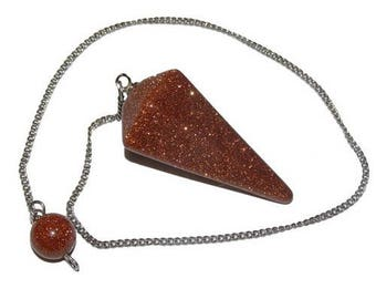 Faceted synthetic Sunstone (goldstone) pendulum