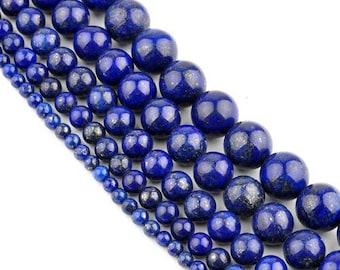 Lapis lazuli 8 x 10 mm round bead