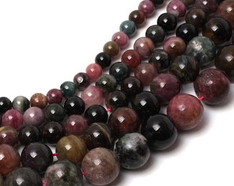 Tourmaline multicolored 8 x 10 mm round bead