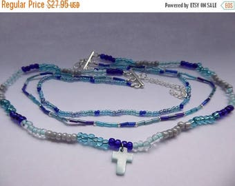 ON SALE Handmade Blue Beaded, Multistrand Necklace with Cross Pendant