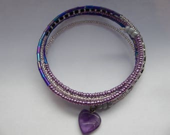 Memory Wire Beaded Bracelet, Purple Heart Stone Pendant