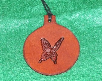 Leather with a butterfly design pendant