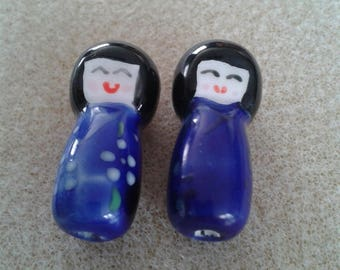 2 cute little dolls Chinese blue colors and 3 cm