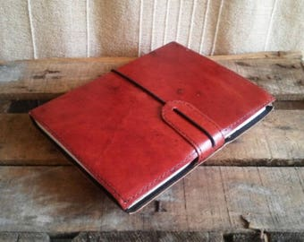 notebook simple brown leather, leather, Journal note book design, A5 size Planner