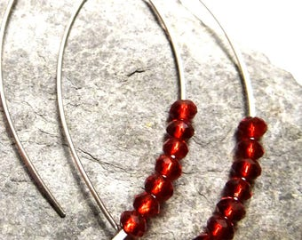 steel and Ruby red crystal earrings...