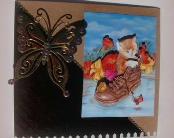 55 cat in a shoe 3d greeting card