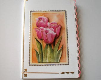 35 - Pink tulips 3d greeting card