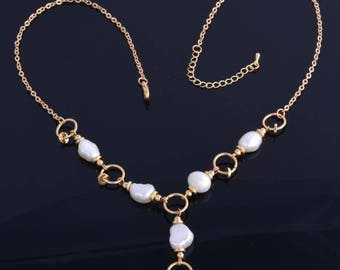 Necklace and freshwater pearl necklace gold gold filed