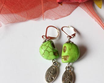 silver plated green howlite stone earring