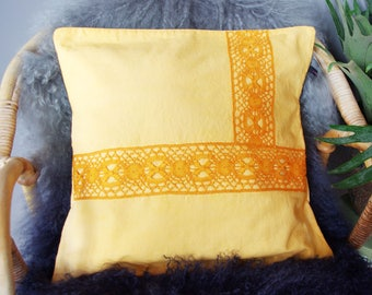 Pillow, Bohemian chic yellow cloth and old lace