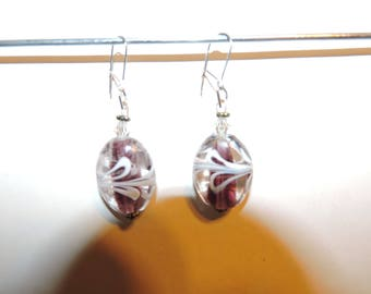 Nice pair of earrings, plum color glass beads