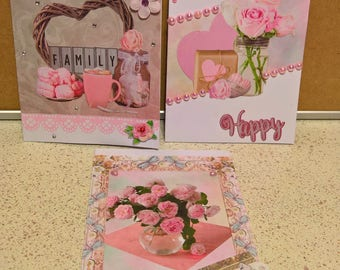 "Set of 3 little cards all occasion ""Happy"""