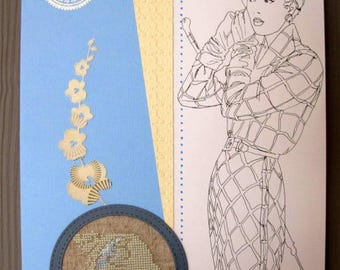 Embroidered cameo painting and fashion print