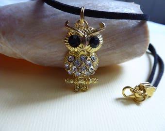 OWL pendant necklace white rhinestones