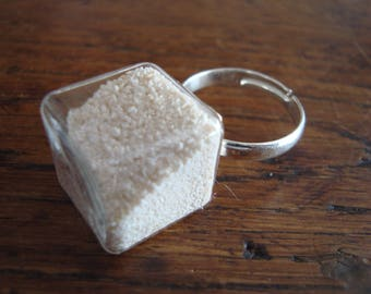 """Ring """"Maldives"""" blown glass filled with real sand from the Maldives"""