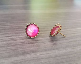 Earrings bullet Cabochon-Fuchsia