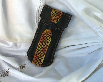 Ethnic glasses case in black leather and orange and yellow bobbin, African button closure, birthday gift.