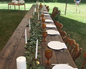 Farmhouse tables, Dining tables, Wedding table, benches.  All tables are custom made, solid wood construction. Made in Michigan