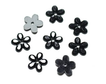 70pc env - resin faceted 11mm black - 8741140021686 flowers beads
