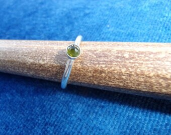 Silver ring and natural stone (green tourmaline)