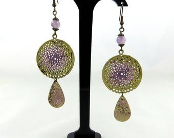 """Purple gold dream"" dangle earrings"