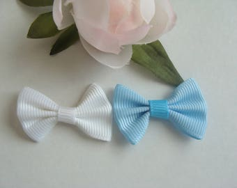 Set of 2 bowties in size 3.5 cm * 2 cm white and sky blue