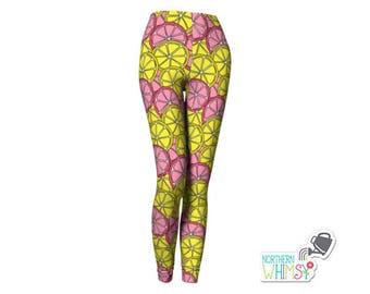 Pink and Yellow Citrus Leggings - pink lemonade womens' leggings - citrus slice pattern - US ladies' sizes XS, S, M, L, and XL