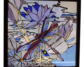Dragon Fly Glass Mosaic in Vintage Window