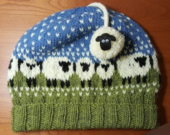 Hand Knit Wool Blue and Green Sheep Baa-ble Hat