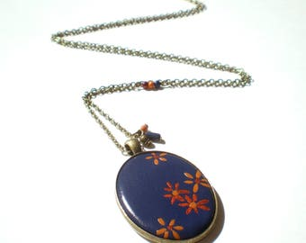 Blue floral oval Locket necklace