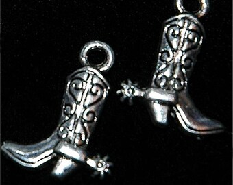 5 antiqued silver cowboy boot charms, detailed three-dimensional #686