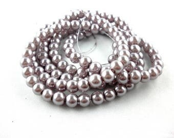 Wholesale lot of 100 grey glass pearl beads, 8mm