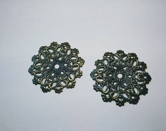 Bronze filigree flower print