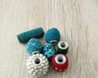 set seven multicolored fancy beads