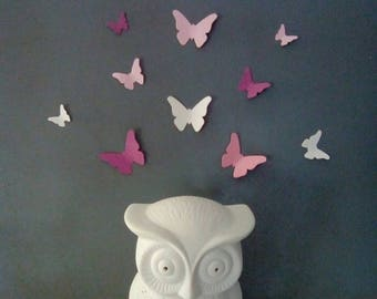 Set of butterflies in shades of Pink for wall decoration