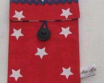 "Phone ""stars"" red printed cotton"