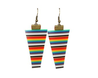 Multicolored recycled electronic wires trapeze earrings