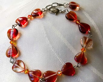 Orange brown heart - women Bracelet Beads Bracelet