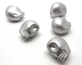 Skull skull metallic silver 13 * 11mm