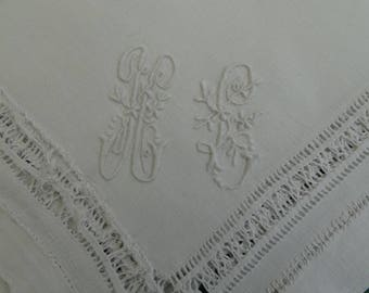 Monogram: old linen, embroidered handkerchief