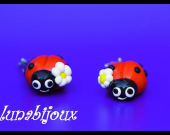 polymer clay earring clips Ladybug Jewelry Gifts