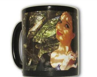Black mug with your panoramic photo