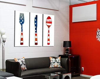 Decor on canvas triptych covered USA 3 x (55 x 120)