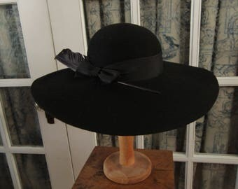 Black Felt Wide Brimmed Hat with Feather