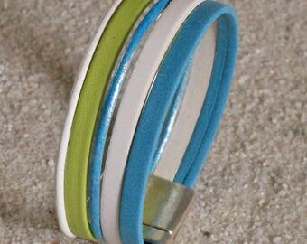 Bracelet leather truqoise lime and white, magnetic clasp